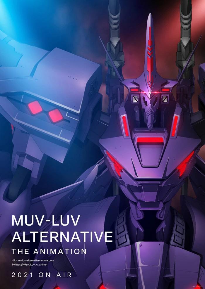 Visual teaser untuk anime TV Alternatif Muv-Luv mendatang, menampilkan tampilan close-up dari salah satu mecha TSF yang mengintimidasi.