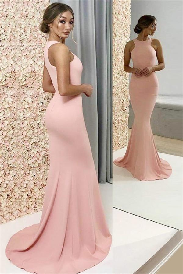 Schicke Meerjunfrausti neckholderkleider rosa, Elegante rosa Festtagskleider Lang