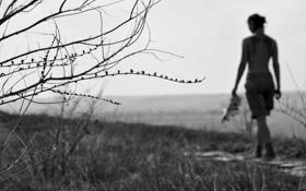 Обои девушка, портрет, веснушки, черно-белое картинки на ...