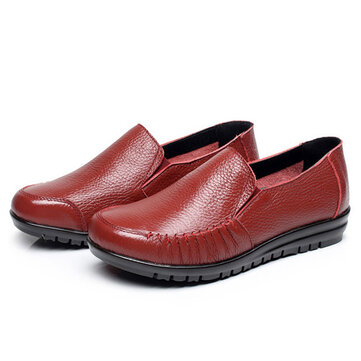 US Size 5-12 Leather Women Soft Shoes Outdoor Slip On Flat Loafers