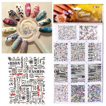 Newspaper Design Letter Water Transfer St Printing Nail Art Sticker