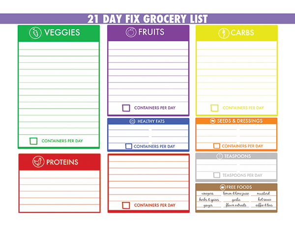 21 Day Fix sample grocery list
