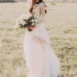 Bohemian Lace Long Sleeves Floor Length A Line Applique Chiffon Boho Bridal Gowns June Bridals