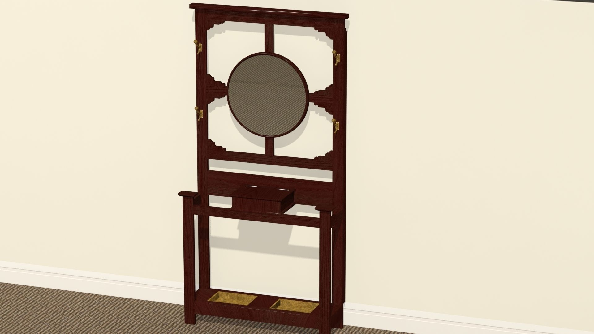 antique hat rack or hall stand 3d model