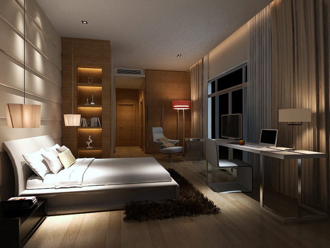 Bedroom Contemporary Style 3D model | CGTrader on Model Bedroom Design  id=70801