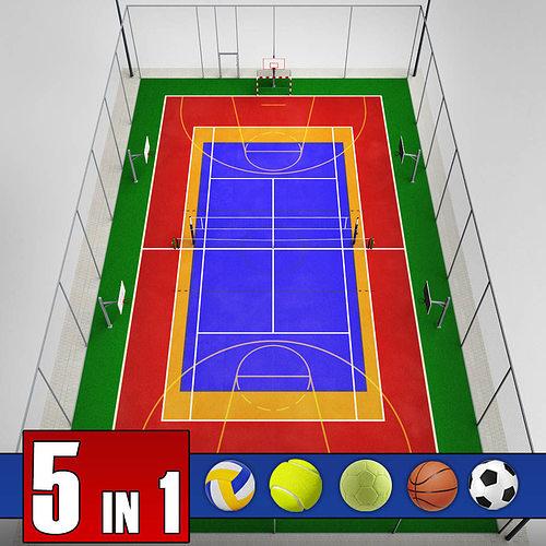 Multi Sport Court Centrum Pack 3d Cgtrader