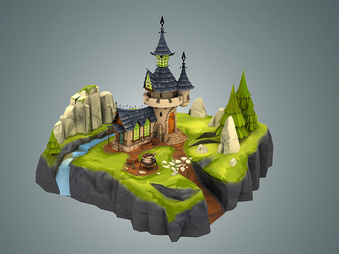 3D Asset Stylized Castle Environment CGTrader