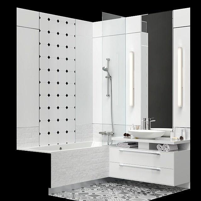 Furniture and decor for a small bathroom 3D model on Model Bathroom Ideas  id=74044