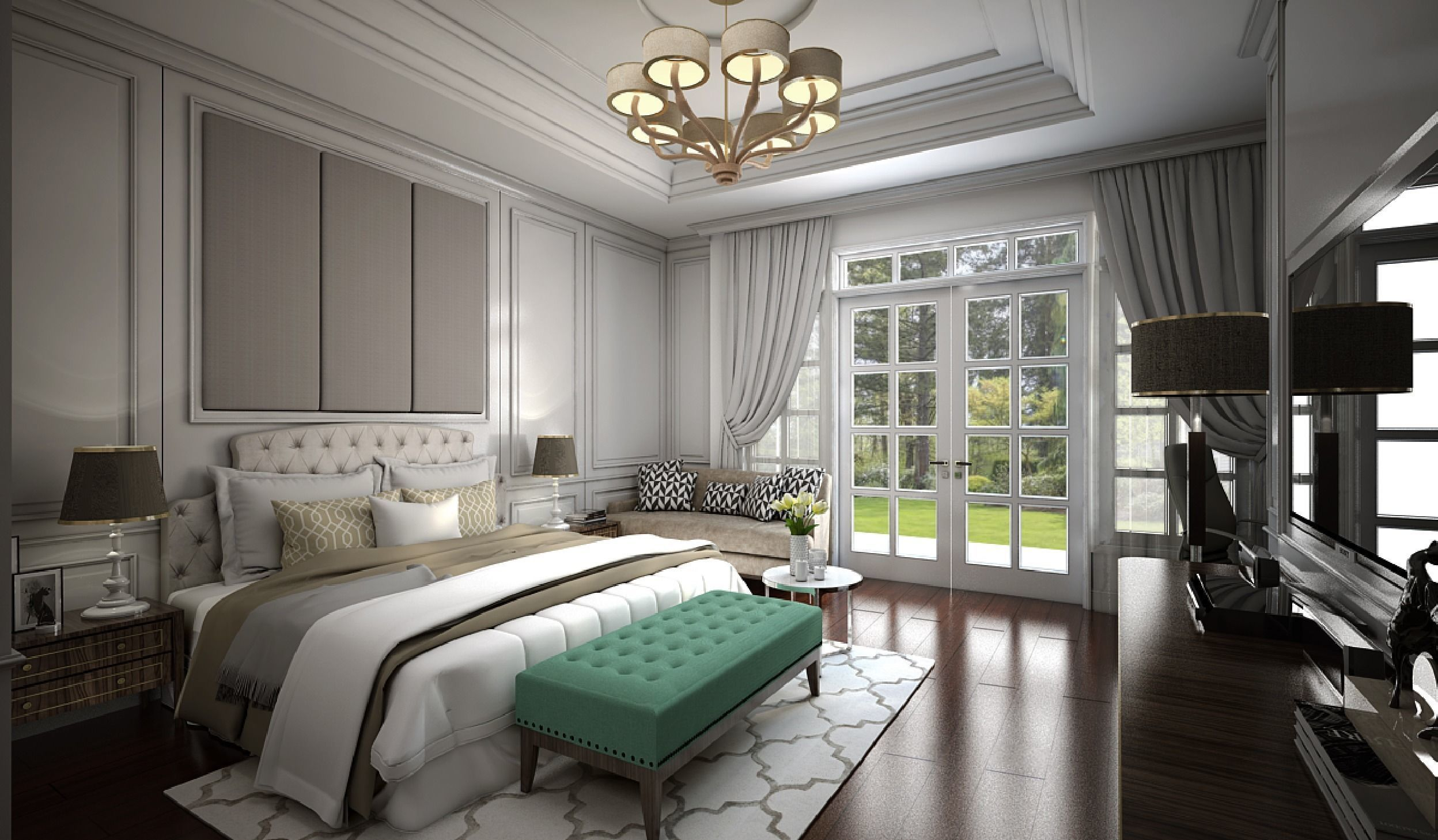 3D model Interior Bedroom American Classic | CGTrader on Model Bedroom Ideas  id=77932