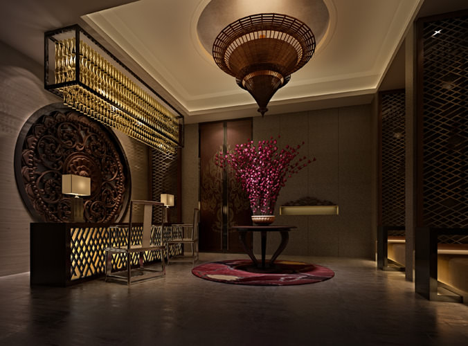 3D model Hotel lobby with elevator interior   CGTrader