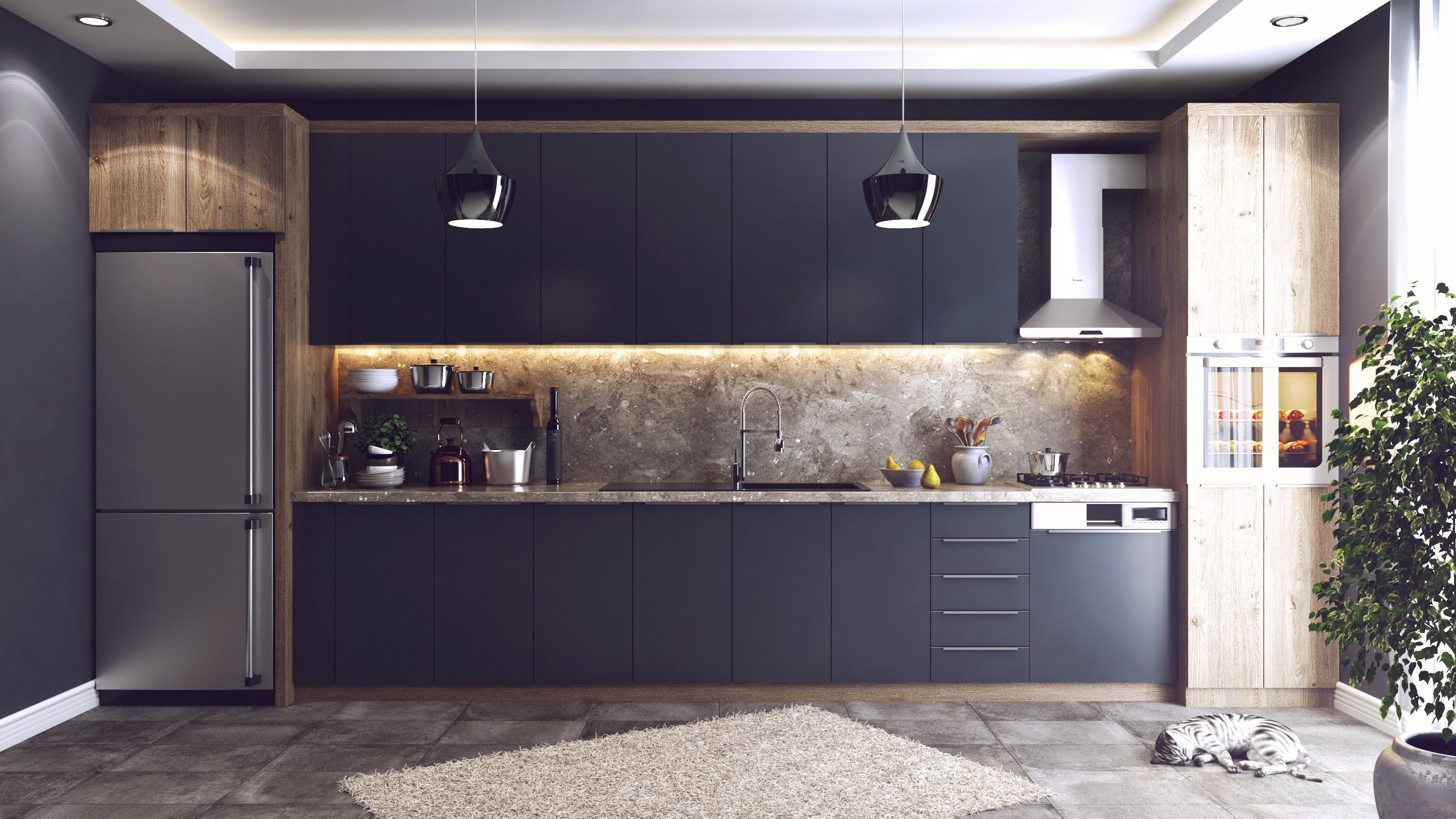 Modern Kitchen 3D Model Vray Settings and PSD on Modern Model Kitchen  id=40061