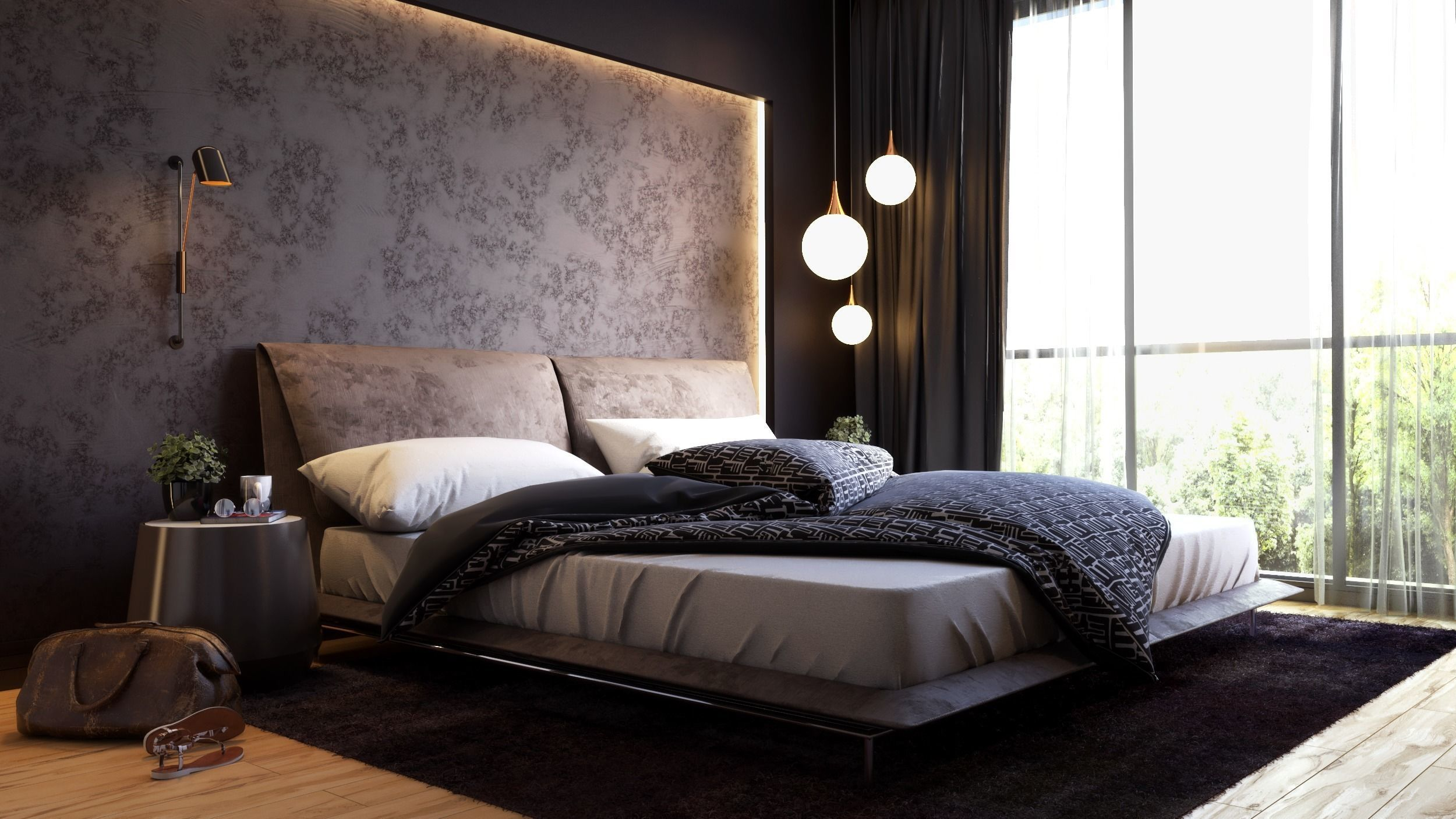Elegance Bedroom 3D Model Vray Settings and PSD on Bedroom Models  id=41738