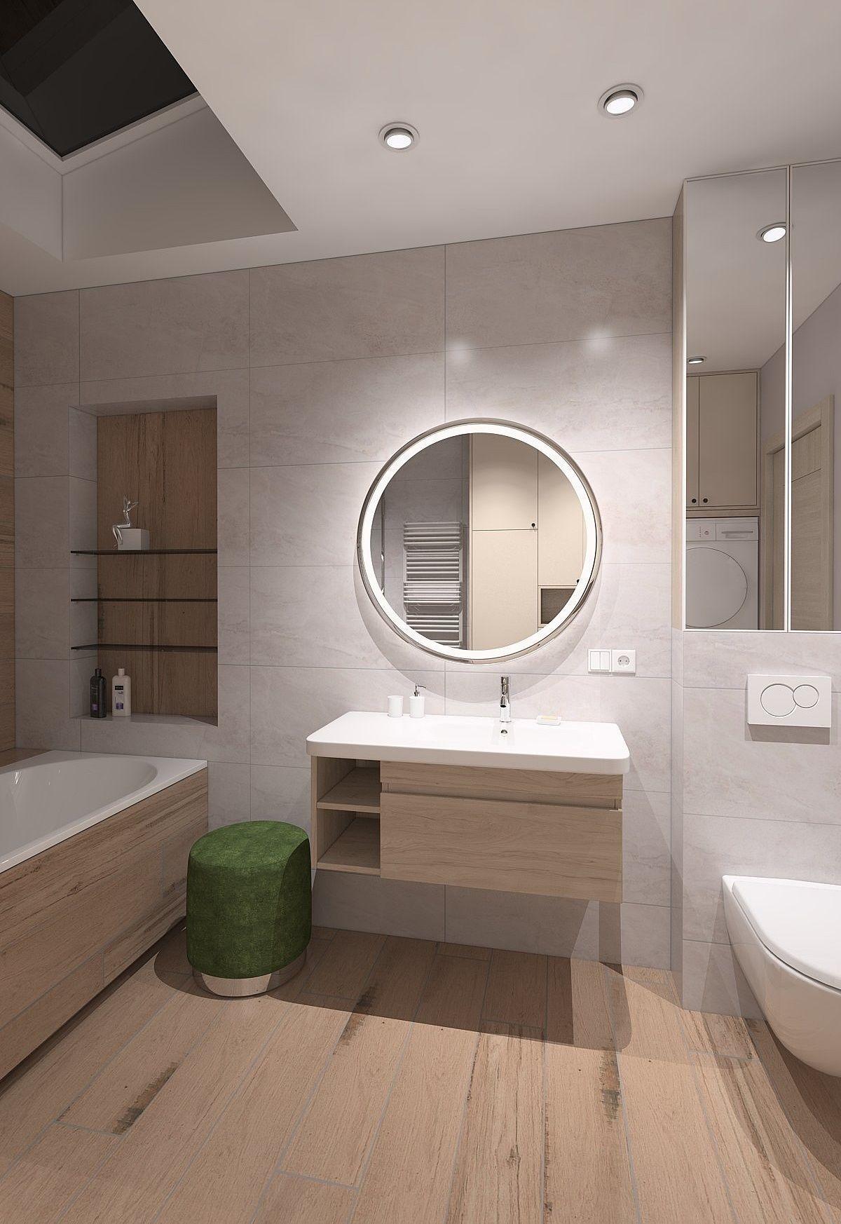 Spacious bathroom with wood imitation tile 3D model on Tile Models  id=32991