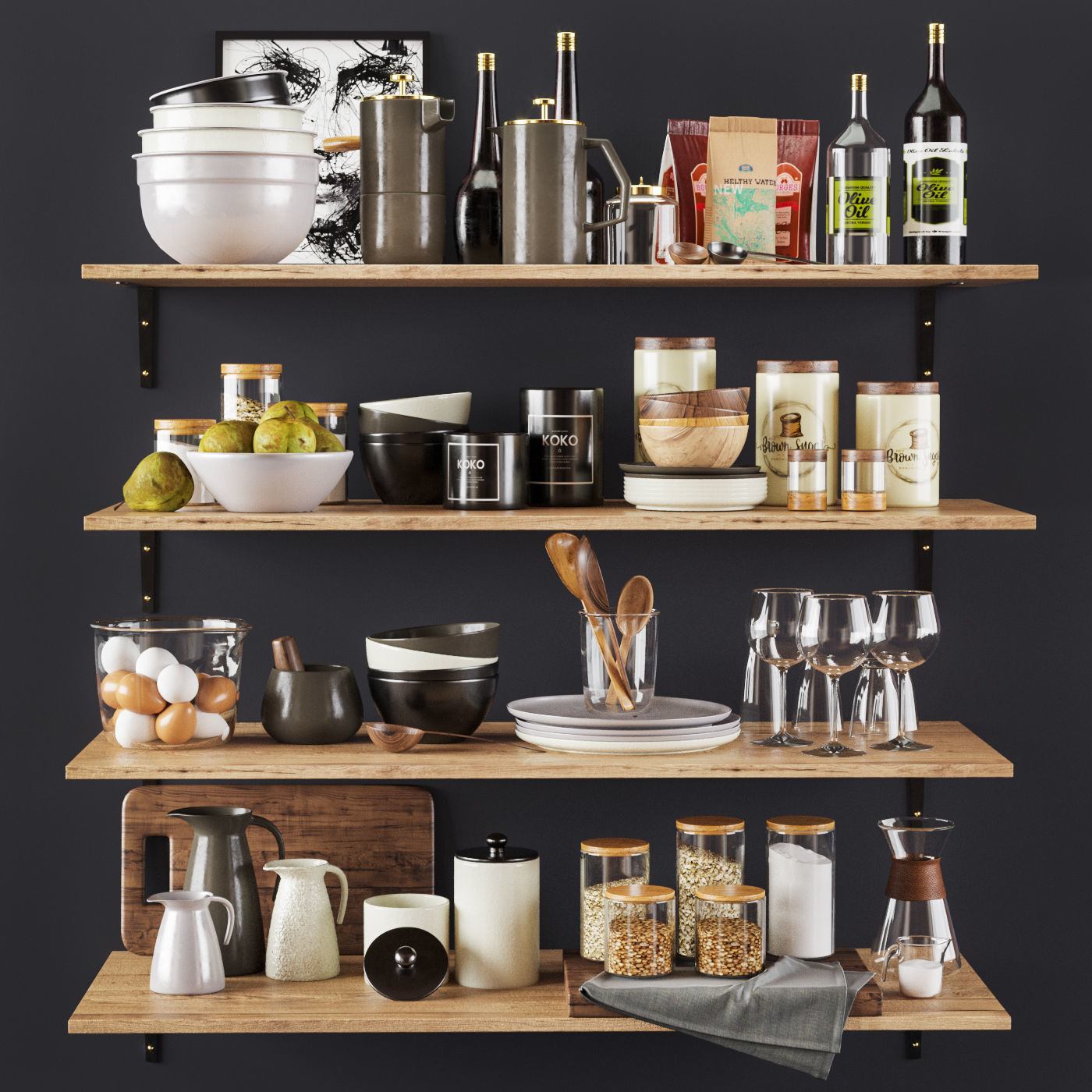Kitchen Decorative set 022 3D | CGTrader on Modern:8-Rtxafges8= Model Kitchen  id=80295