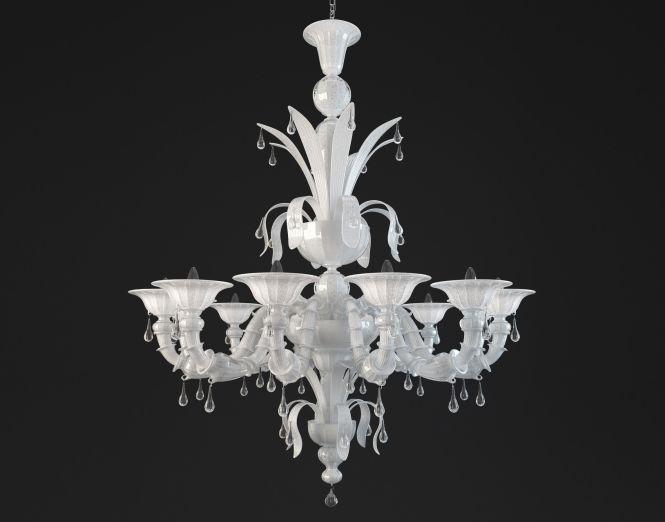 Paradiso White Murano Glass Chandelier Model Max Obj Mtl 1