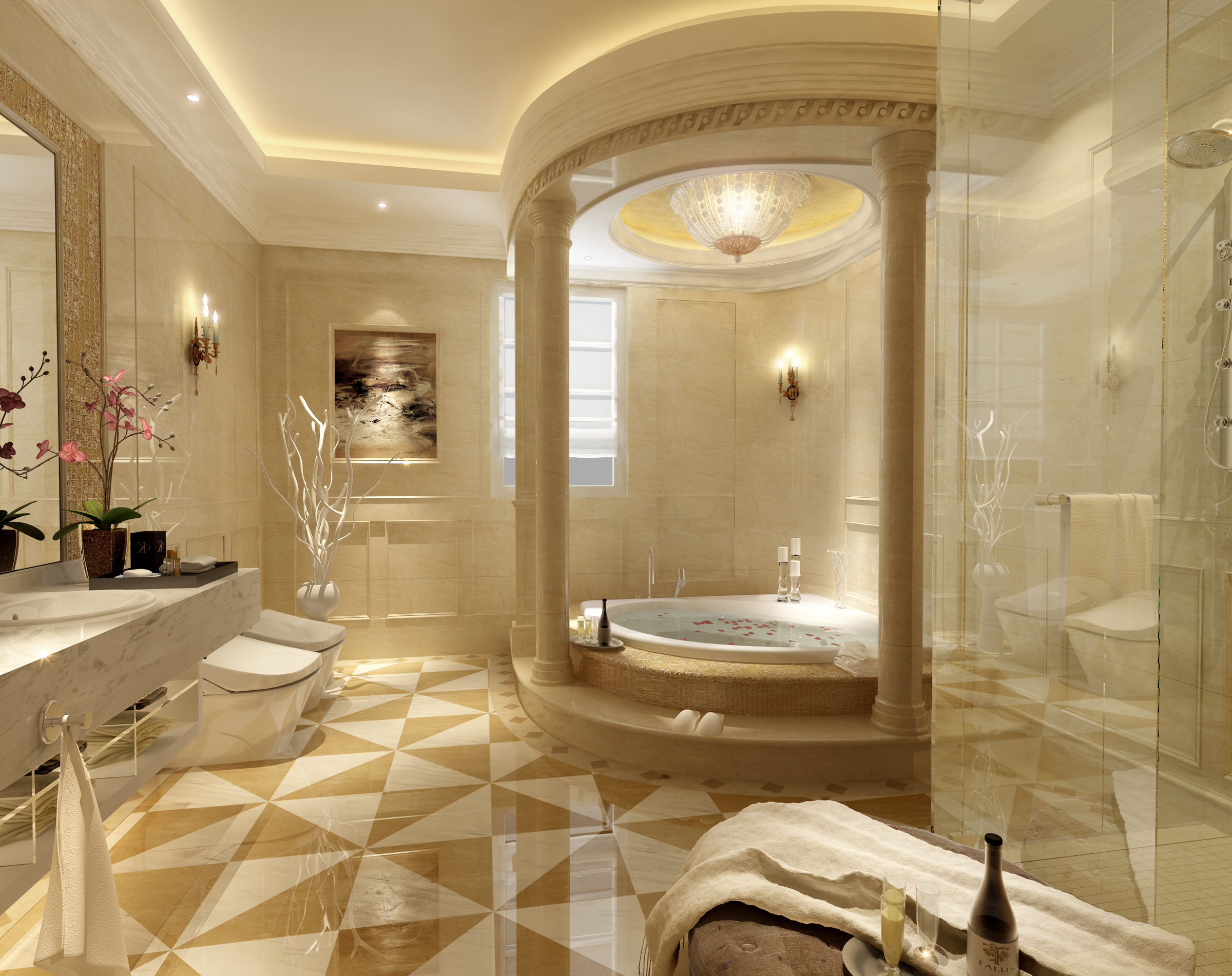 Luxury bathroom 3D Model MAX   CGTrader.com on Bathroom Model  id=52735