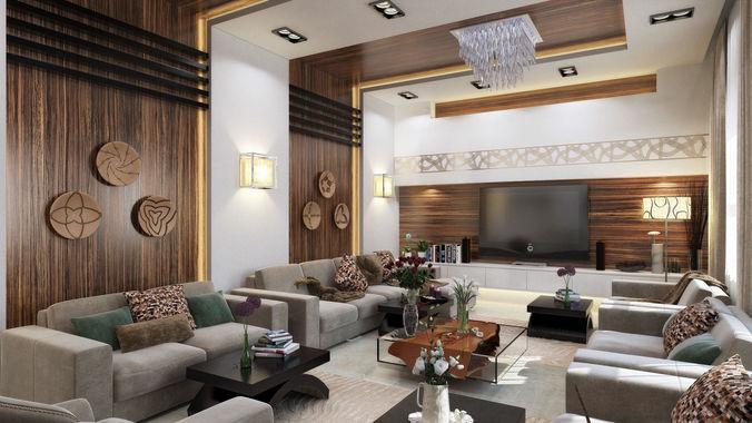 3D Modern L Shape Living Room CGTrader