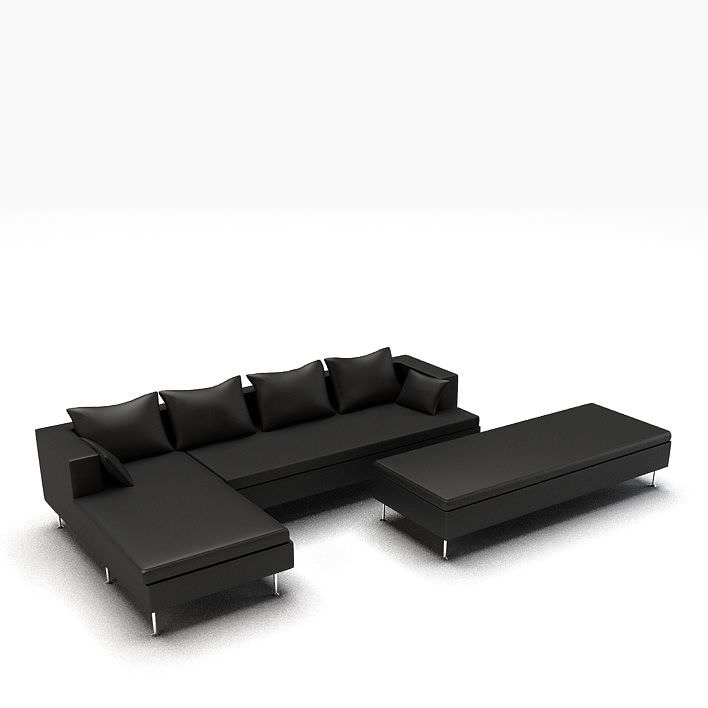 modern black l shaped leather couch 3d model