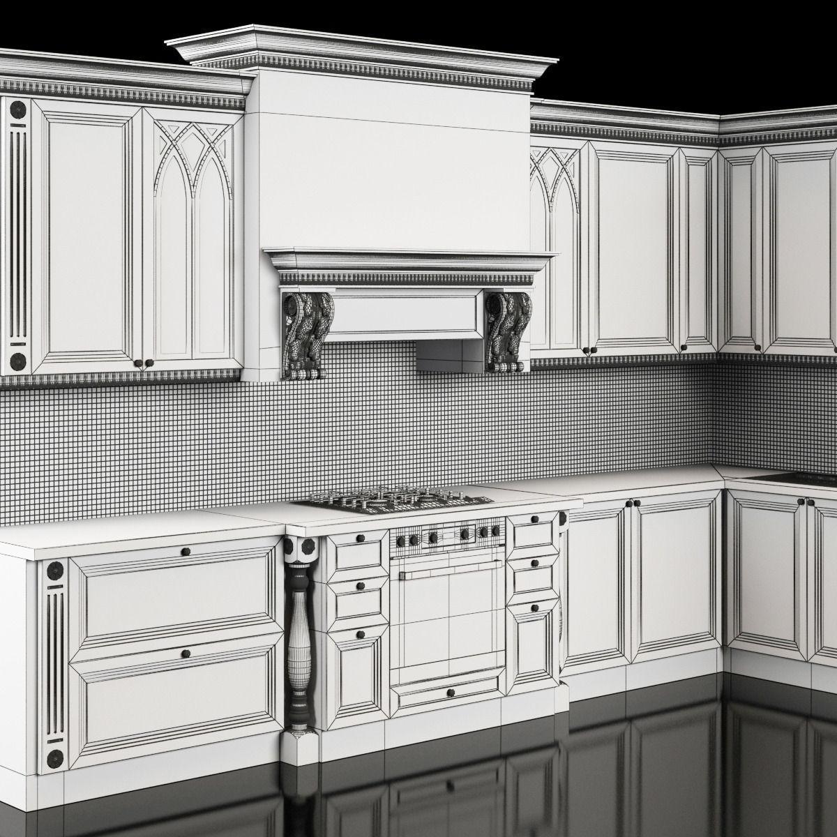 classic kitchen 3D Model MAX | CGTrader.com on Model Kitchen  id=15112