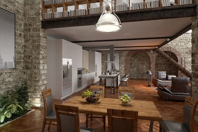 Stone Wall Interior Design 3D model   CGTrader