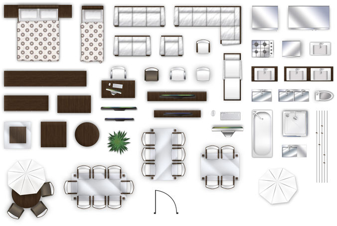 3D Model 2d Furniture Top Down View Style 2 CGTrader