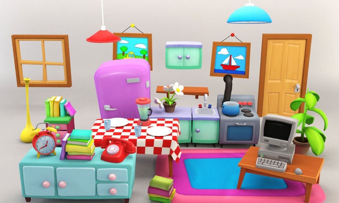 Cartoon Furniture Package 2 3D Asset CGTrader
