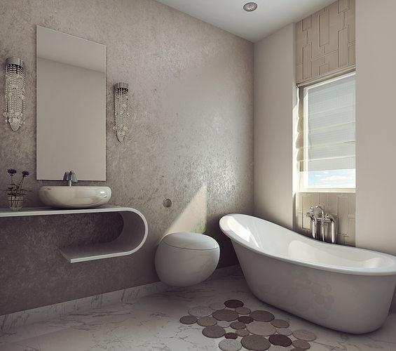 3D Modern Earthy Design Bath Room   CGTrader on Model Bathroom  id=90134