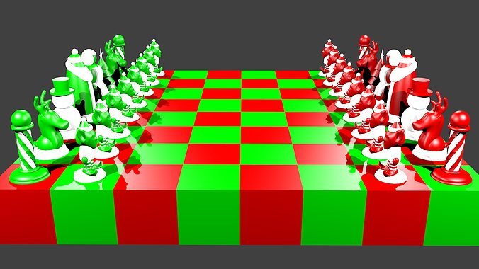 North Pole Vs South Pole Christmas Chess Set 3D Model 3D Printable OBJ 3DS STL MTL X3D