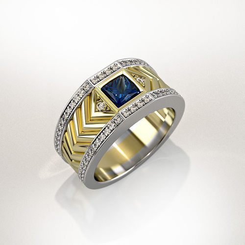 Mens Ring With Square Gemstone 013 3D Print Model