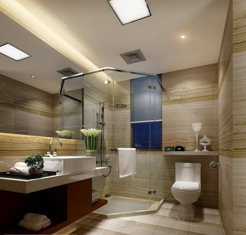 Small compact bathroom with transparent shower 88 3D Model ... on Bathroom Model  id=29962