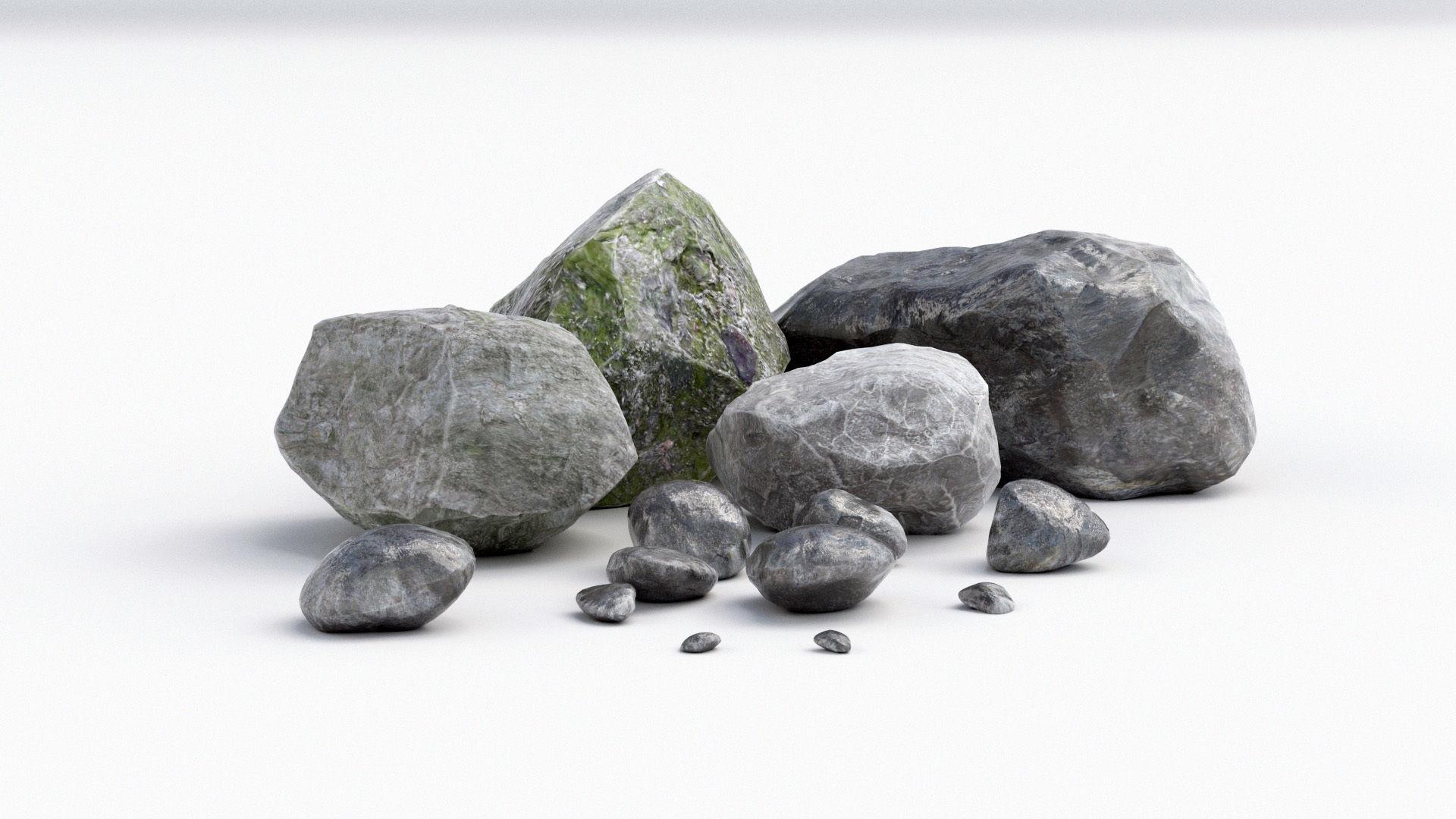 Stones Rock 3D Model MAX OBJ FBX MTL MAT | CGTrader.com on Granite Models  id=13353