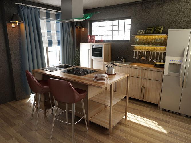 kitchen Modern Kitchen Design 3D model | CGTrader on Modern:8-Rtxafges8= Model Kitchen  id=82403