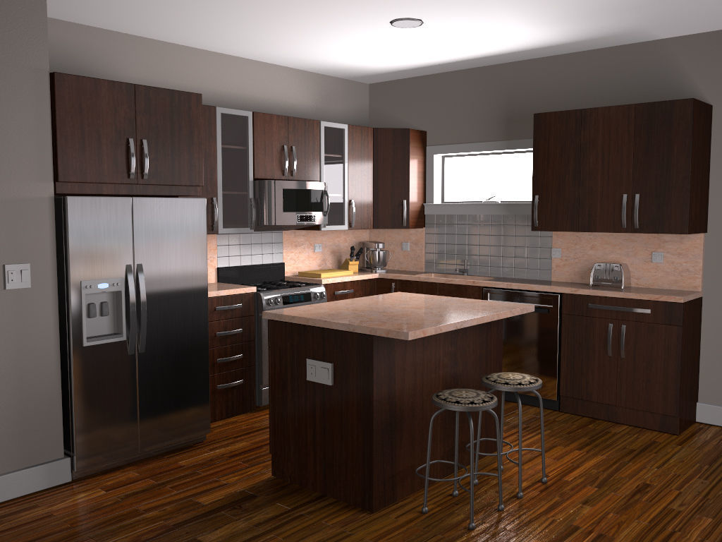 kitchen 3D asset | CGTrader on Modern:8-Rtxafges8= Model Kitchen  id=70051