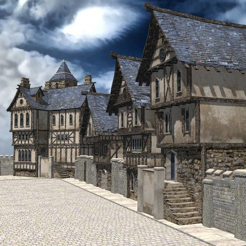 Medieval Street For 3ds Obj Unity Vr Ar Ready Cgtrader