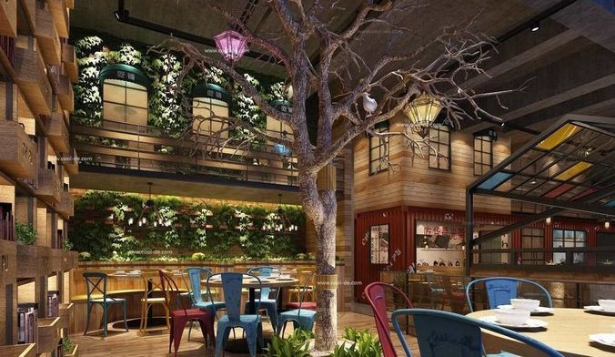 Luxury Restaurant Hall With Plants And A Tree Inside 3D Model MAX