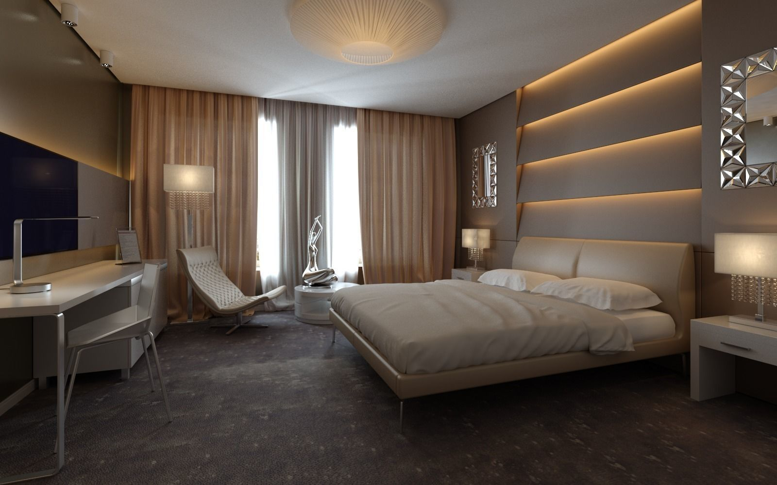 Exclusive European Hotel Room Design Idea 3D model MAX FBX DWG on Model Bedroom Ideas  id=25620