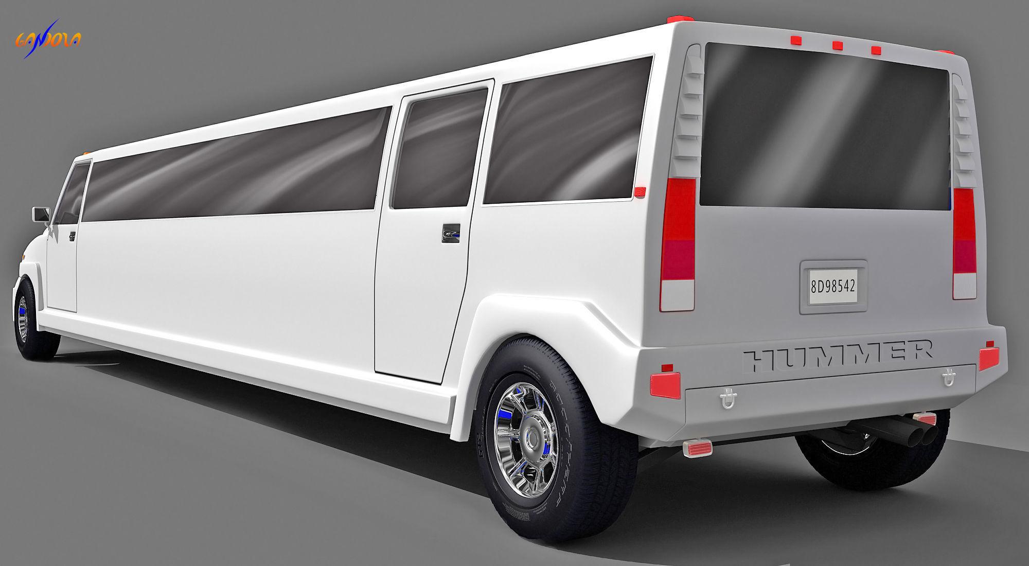 3D model White Hummer Limousine