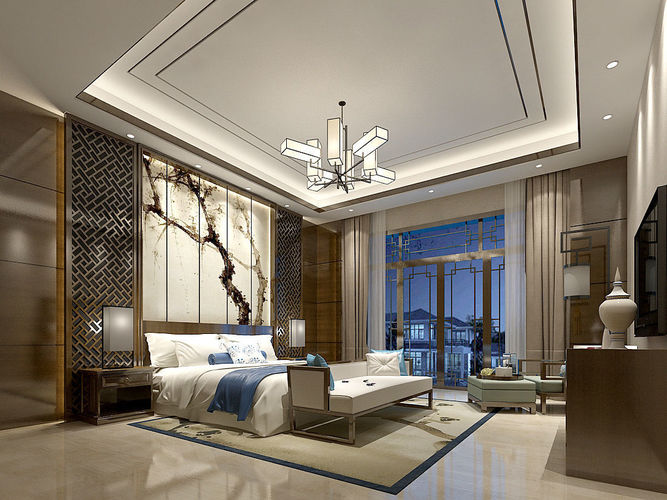 Stylish master bedroom design 69 3D model | CGTrader on Model Bedroom Design  id=66793