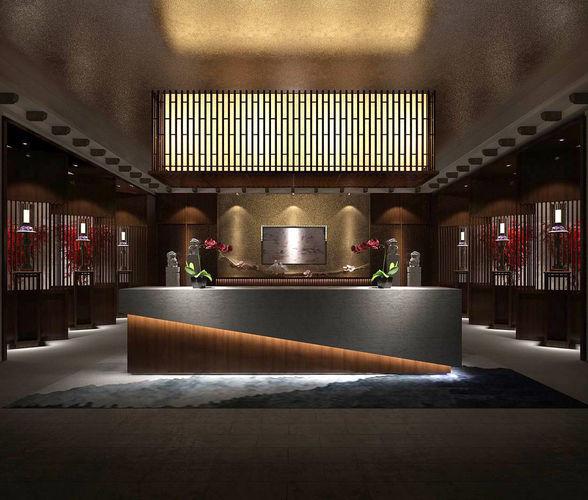 Hotel Reception Hall Design Complete 07 3d Model