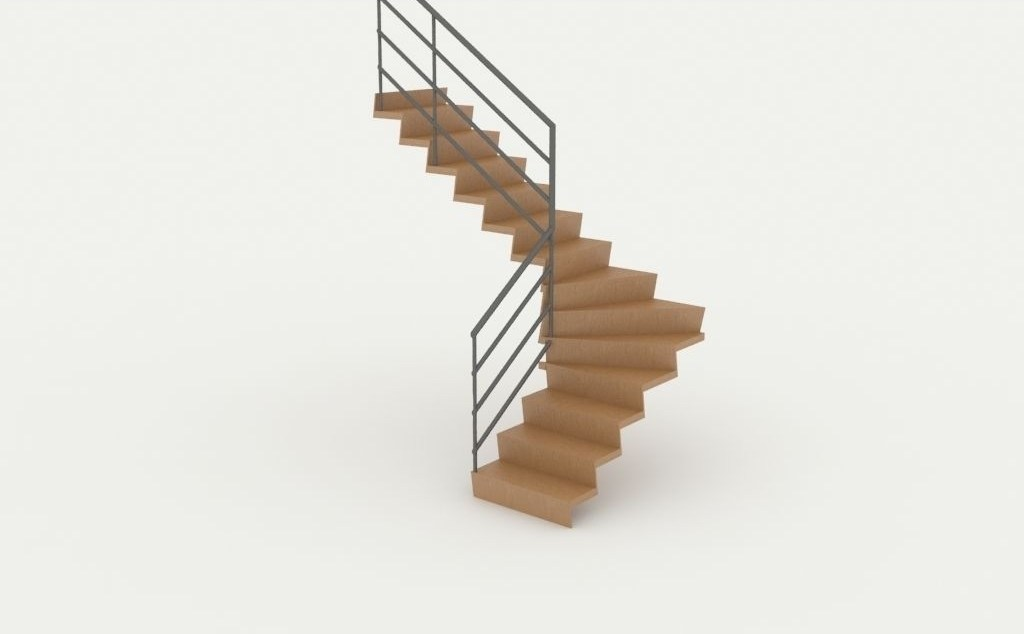Wooden Twisted Stairs 3D Cgtrader | Staircase Sweet Home 3D | Floor Plan | Sh3D | 3D Model | Eteks | Software