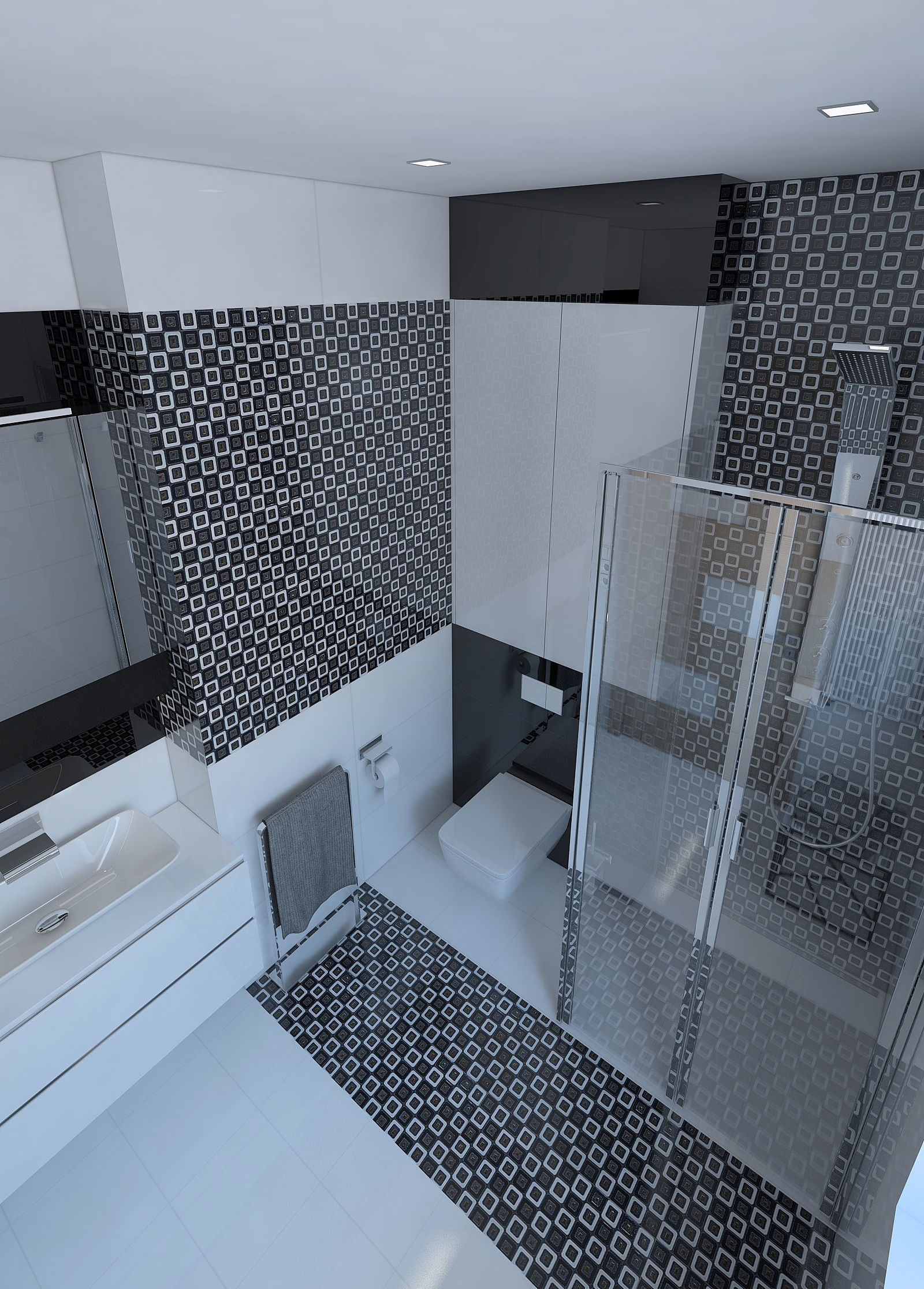 Beautiful bathroom with shiny tiles 3D model   CGTrader on Tile Models  id=46744