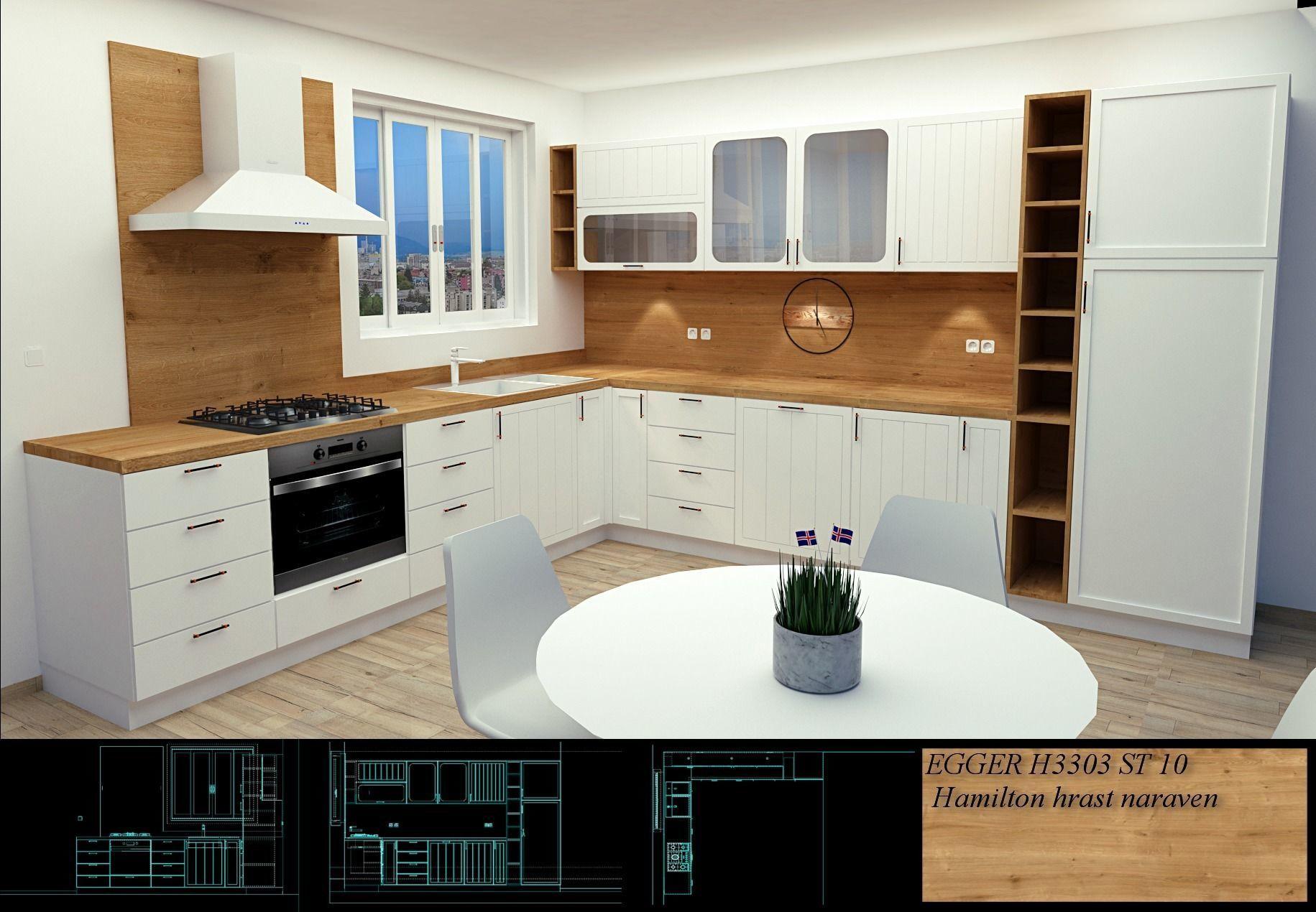 Scandinavian style kitchen modern design 3D model on Model Kitchen Design  id=61465