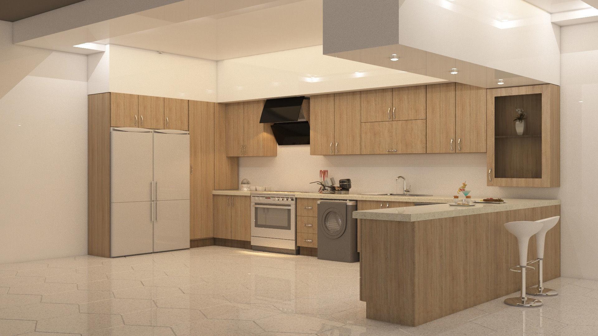 kitchen design 3D asset   CGTrader on Kitchen Model Design  id=15463