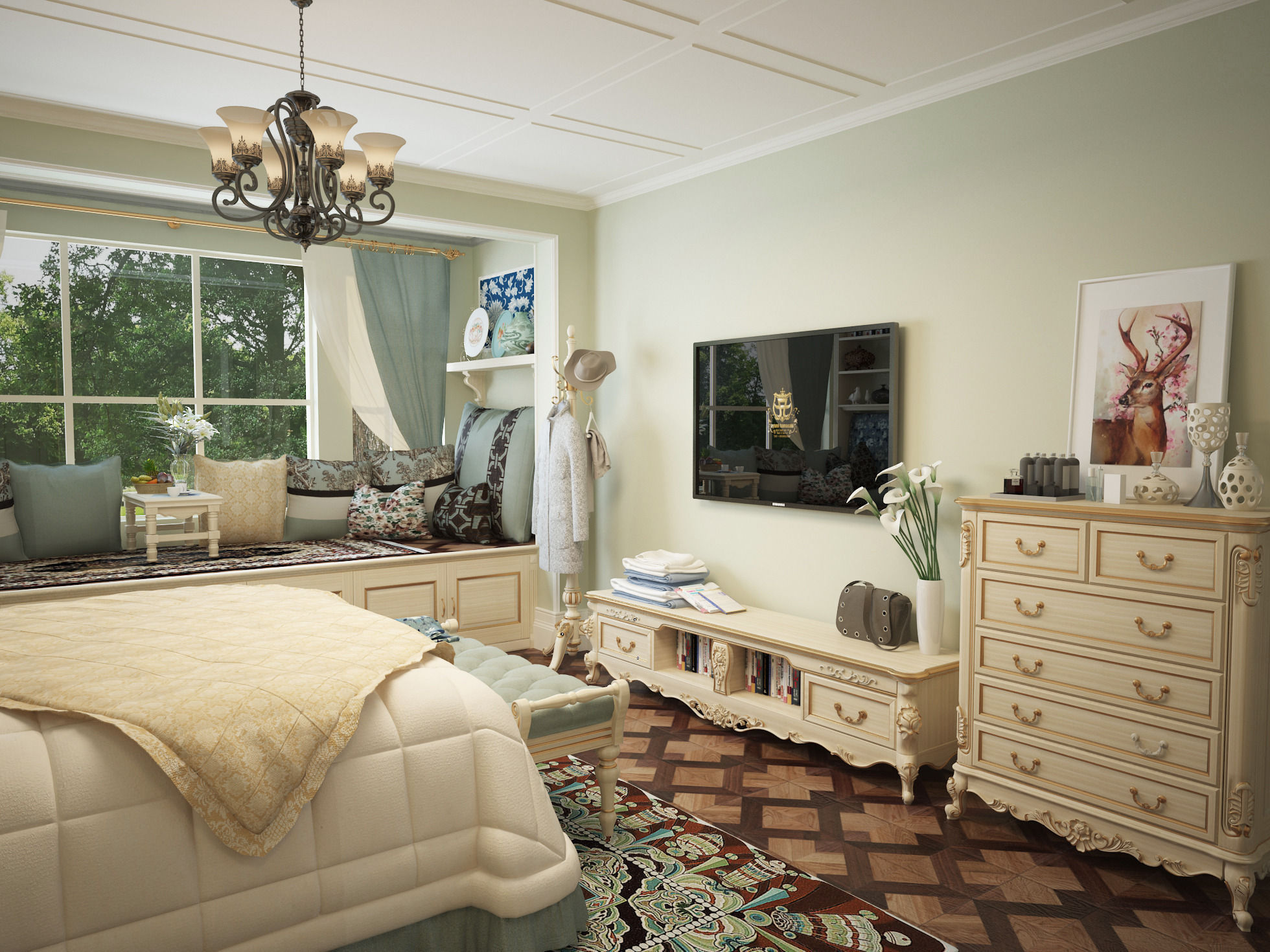 New classicism style with cloakroom large bedroom 3D Model ... on New Model Bedroom  id=57763