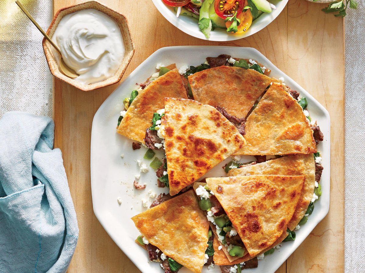 Steak Feta And Olive Quesadillas Recipe Cooking Light