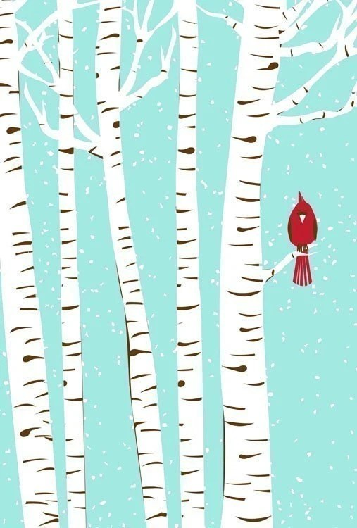 Winter Cardinal & Birch Trees - Modern Cardinal Art  Print - silkscreen - strawberryluna