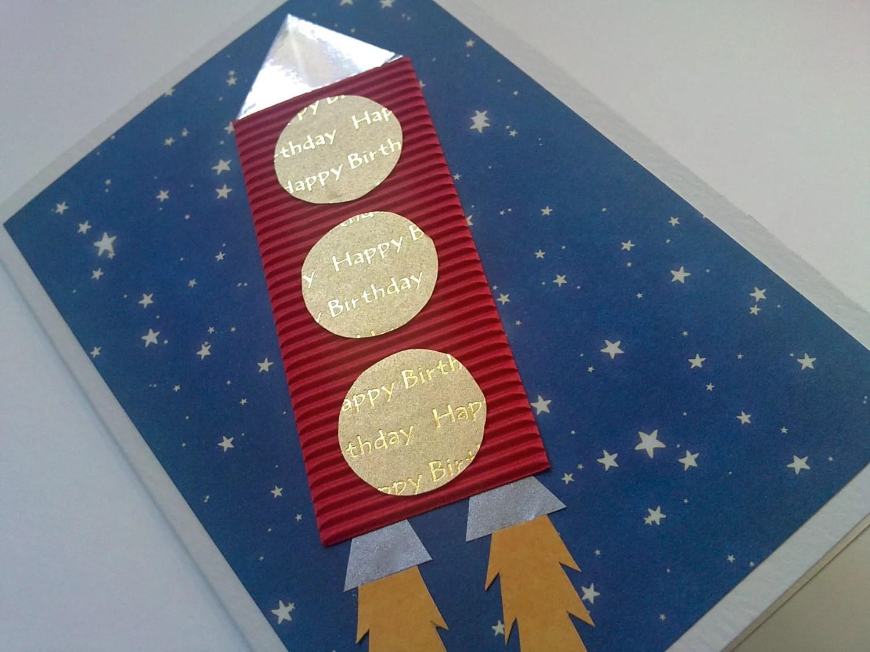 Children's rocket birthday card