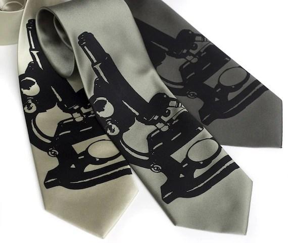 Science Affair necktie. Silkscreen microscope tie. Black ink.