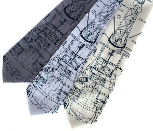 Rocket blueprint necktie. NASA tie. Mercury spacecraft.