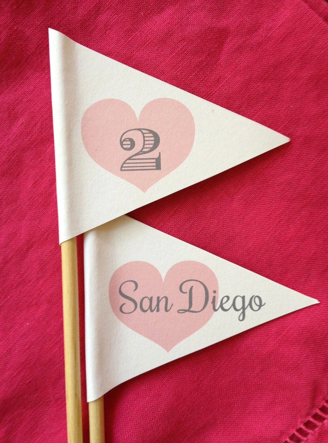 Table Number Heart Flags for Wedding Seating